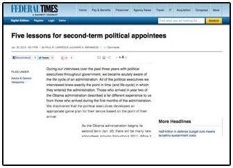 Five Lessons for Second Term Political Appointees